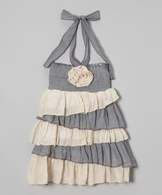 Love this Lele for Kids Gray & Ivory Tiered Halter Dress - Toddler & Girls by Lele for Kids on #zulily! #zulilyfinds