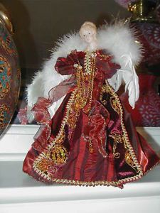NEW FANCY BURGUNDY GOLD ANGEL CHRISTMAS TREE TOPPER BEAUTIFUL!!