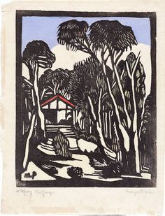 The garage, (circa by Margaret Preston :: The Collection :: Art Gallery NSW Margaret Rose, Margaret Preston, Linocut Prints, Art Prints, Block Prints, Lino Art, Art Programs, Encaustic Painting, Art For Art Sake