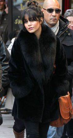 Vanessa Hudgens Black Fur Coat is EVERYTHING!! I just love her style!