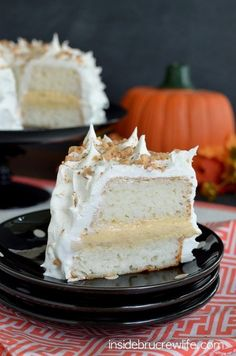 Pumpkin Toffee Angel Food Cake - layers of no bake pumpkin cheesecake and cake makes a great dessert. Easy recipe for fall dinners!