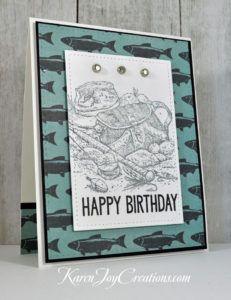 Patterned Paper Angler Handmade Masculine Birthday Card with Stampin' Up Angler and My Favorite Things Big Birthday Sentiments