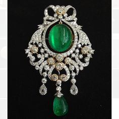IG: thavorn_gallery: A cabochon Colombian emerald 26.72cts with old mine cut and billion cut diamonds pendant.