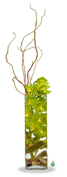 Submerging orchids in water is a clear and beautiful way to display them; and this tall column vase filled with orchids – plus curly branches, leaves and a handful of river rocks – is a unique floral arrangement that will be lovely in any environment. Orchid Flower Arrangements, Creative Flower Arrangements, Orchid Bouquet, Beautiful Flower Arrangements, Beautiful Flowers, Orchid In Vase, Orchid Plants, Bouquets, Ikebana