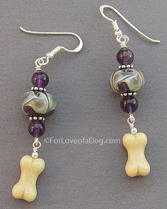 Amethyst Lampwork Dog Bone Earrings Sterling Silver  - handmade and one of a kind jewelry at www.ForLoveofaDog.com