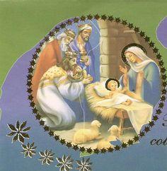 Imagen de la Adoración de los reyes al Niño Dios en tarjeta de la librería San Pablo Serie Dios con nosotros 5