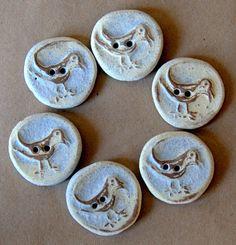 Handmade Stoneware - Bird Buttons