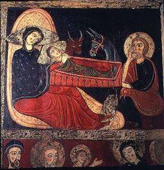 The Nativity, from the Altarpiece of St. Medieval Life, Medieval Art, Early Christian, Christian Art, Illuminated Manuscript, Medieval Manuscript, National Art Museum, Romanesque Art, Art Roman