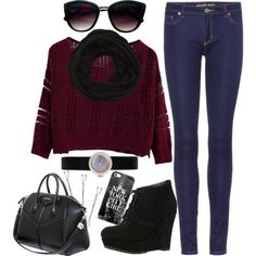 Burgundy Knitted Sweater and a pair of ankle boots. | Fall - Winter Essentials