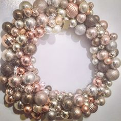 My rose gold taupe Christmas wreath