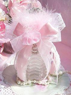 Romantic Pink Vintage Bath Bottle  http://www.crystalsrosecottagechic.com