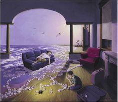 Giclee on Paper 'Making Waves' art by surrealist Rob Gonsalves