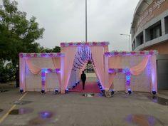 Desi Wedding Decor, Wedding Stage Design, Diy Wedding Backdrop, Floral Wedding Decorations, Wedding Gate, Wedding Entrance, Gate Decoration, Entrance Decor, Flower Garland Wedding