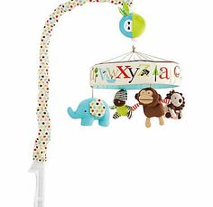 Skip Hop Alphabet Zoo Mobile Soothe baby to sleep with this musical mobile. As the arm of the mobile rotates slowly to the classic tune of Twinkle Twinkle Little Star, baby can gaze at the faces and patterns above. Will play for  http://www.comparestoreprices.co.uk/baby-toys/skip-hop-alphabet-zoo-mobile.asp