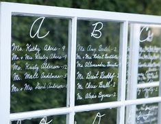 Love the Alphabetical letter seating Chart! Makes it easier to find your name. (20 secrets to a fun reception)