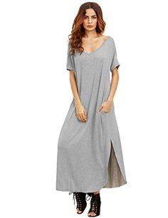 "MakeMeChic Women's Casual Loose Pocket Long Dress Short Sleeve Split Maxi Dress Grey L. Rayon and Spandex material. Short sleeve, v neck and back, long dress. Maxi dress, loose fit. Model Measurement: Height: 176cm/5'9"" Bust: 88cm/35"" Waist: 59cm/23"" Hip: 89cm/35"" Wear: S. Please refer to the size measurement below before ordering."