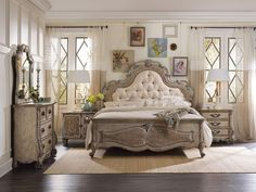 """Hooker Furniture Chatelet Upholstered Panel Bedroom Set. Come home to your little castle. Relax in a livable luxury with Chatelet, a whole home collection inspired by timeless farm style antiques found in """"little castles"""" of Old World Europe."""