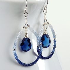 Shaded Sapphire and  Blue Quartz Earrings, September Birthstone Earrings, Sapphire Teardrop Earrings