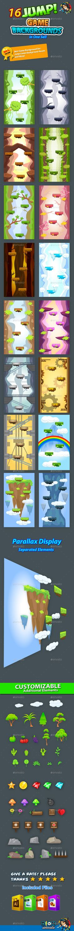 Buy Jump Game Backgrounds in One Set by pasilan on GraphicRiver. Need Jump Game Backgrounds for your game project? Game Backgrounds for your mobile game assets This assets is for de. 2d Game Art, 2d Art, Video Game Art, Game Ui Design, Map Design, Vector Game, Different Art Styles, Game Environment, Game Background