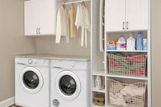 Stylish Laundry Storage For Small Spaces Closet Works Tips Small Laundry Room Design Laundry Room Shelves, Laundry Room Cabinets, Basement Laundry, Laundry Closet, Small Laundry Rooms, Laundry Storage, Laundry Room Organization, Laundry Room Design, Closet Storage