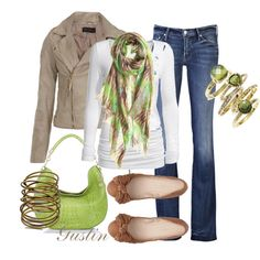 green and tan, created by gustinz.polyvore.com