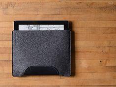 iPad & iPad Air Sleeve  Charcoal Felt and Black by byrdandbelle, $56.00