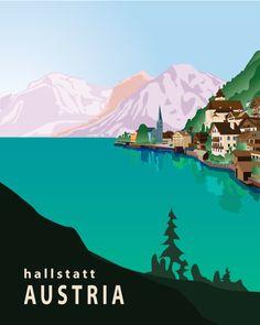 Vintage Travel Poster - Halstatt - Austria.