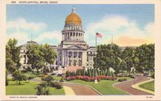 Boise Idaho State Capitol  Linen Postcard  by postcardsofthepast