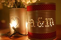 An Idea I think would be neat for an outside dinner party but with battery operated candles or battery LED lights!  The cans can have a punched design of whatever the theme maybe for whatever occasion!  Oh! wouldn't these look cute hanging in trees!