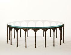 L'ARC - Cast bronze cocktail table with glass top - Edition of Ten