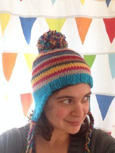 Rainbow Pippi Hat   free ear flap hat pattern from Alaska Knit Nat