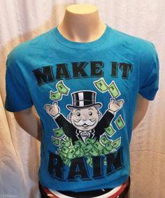 MONOPOLY Make It Rain Money Retro Mens Teen T Shirt T-Shirt L Large Funny #Monopoly #TShirt $12.99