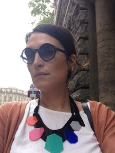Giulia in Rome wearing Emmanuella necklace for Scicche - www.scicche.it