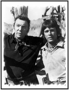 Cameron Mitchell as Buck Cannon and Rudy Ramos as 'Wind' in Season 4 of The High Chaparral Western TV Series Cameron Mitchell, The High Chaparral, Tv Westerns, Old West, Movies And Tv Shows, Movie Stars, Movie Tv, Behind The Scenes, Tv Series