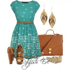 Teal dress/brown shoes
