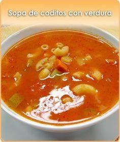 SOPA DE CODITOS CON VERDURAS