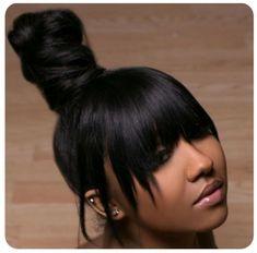 Great hair style post Get human hair bundles totallymayvenn. Weave Ponytail Hairstyles, Ponytail Styles, My Hairstyle, Hairstyles With Bangs, Girl Hairstyles, Black Hairstyles, Long Ponytail Weave, Pretty Hairstyles, Natural Bun Hairstyles