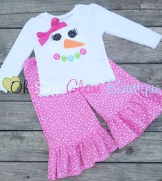 Girly Snowman Boutique Ruffle Pant Outfit by OhSewGlamBoutique, $34.00