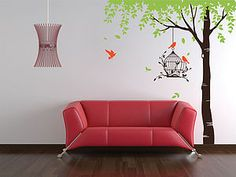 Summer Tree With Bird Cage Wall Stickers - wall stickers