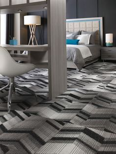 Durkan's Tessarae, a carpet tile collection designed for hospitality interiors.