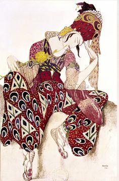 Paul Poiret took inspiration of Harem style from the costume designer of the Ballet Russes Scheherazade - Oriental culture Paul Poiret, Theatre Costumes, Ballet Costumes, Dance Costumes, Russian Ballet, Russian Art, Russian Style, Art Nouveau, Léon Bakst