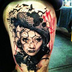 Xoil, tatoueur français #realist #portrait #trashpolka