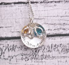 Personalized Necklace Name Necklace Hand Stamped Sterling Silver Custom Domed Circle Personalized