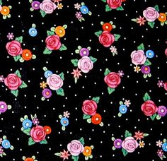 """1 yard and 34"""" of Mary Engelbreit OOP fabric- Multicolored flowers and white dots on black print. $13.60, via Etsy."""