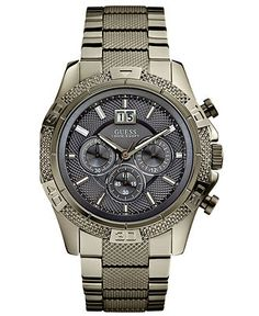 GUESS Watch, Men's Chronograph Gunmetal Stainless Steel Bracelet