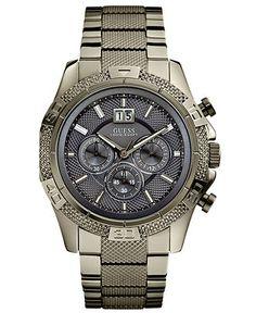 GUESS Watch, Men's Chronograph Gunmetal Stainless Steel Bracelet
