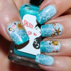Beach Nails (Shleee Polish gradient, Pipe Dream Polish Spotted Watermarble and Born Pretty Store studs and rhinestones)
