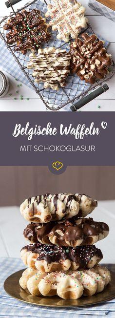 Knusprige Belgische Waffeln, glasiert mit leckerer Schokolade oder farbigem Zuckerguss und bestreut mit allerlei bunten Streuseln.