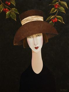 """Danny McBride, artist, original acrylic paintings at White Rock Gallery """"Adele and the Cherry Tree"""" Action Painting, Illustrations, Illustration Art, Modigliani, Portrait Art, Portraits, Danny Mcbride, African Art Paintings, Feminine Mystique"""