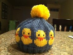 Ravelry: Rubber duck chart pattern by Sandra Jäger Baby Hat Knitting Patterns Free, Baby Hats Knitting, Knitting Charts, Knitting For Kids, Knitting Stitches, Knitting Designs, Baby Patterns, Knitting Projects, Knitted Hats